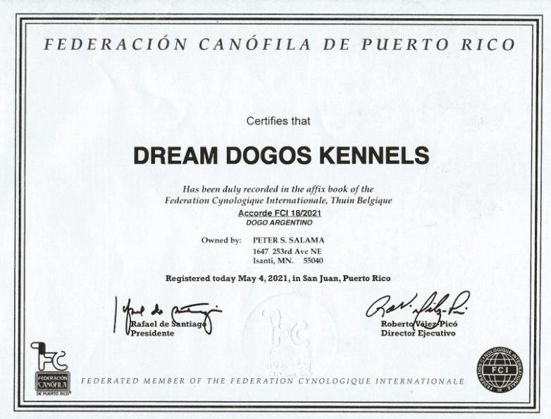 Dogo Argentino Kennel breeder certificate